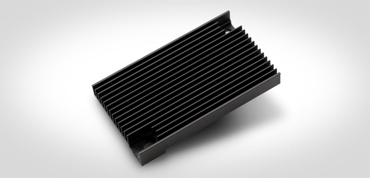 Bild: Extrudieren und Mechanik Kühlkörper, Kühlprofil, schwarz eloxiert, CNC